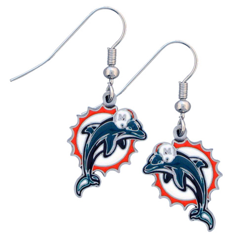 Miami Dolphins NFL Dangling Earrings