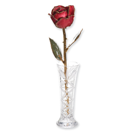 Lacquer Dipped Gold Trim Red Rose & Small Bud Vase Set
