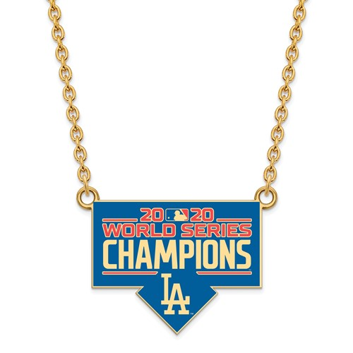 Gold-plated Sterling Silver Enamel Dodgers World Series 2020 Necklace