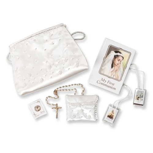 First Communion Girl Six Piece White Gift Set