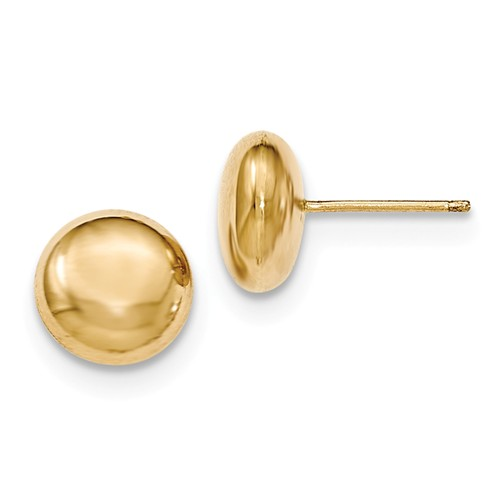 14kt Yellow Gold 10.5mm Polished Button Post Earrings