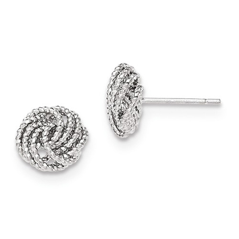 14kt White Gold 3/8in Italian Love Knot Earrings
