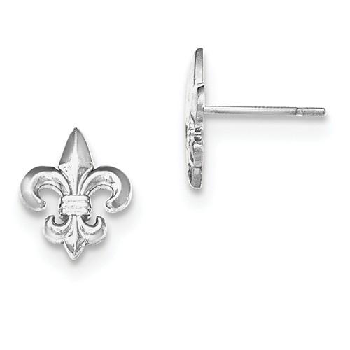 14kt White Gold Fleur De Lis Stud Earrings