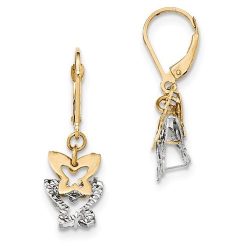 14kt Two-tone Gold 1 1/4in Butterfly Leverback Dangle Earrings