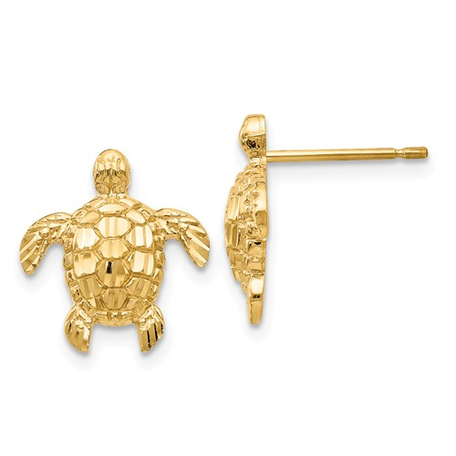 14k Yellow Gold Textured Sea Turtle Post Earrings