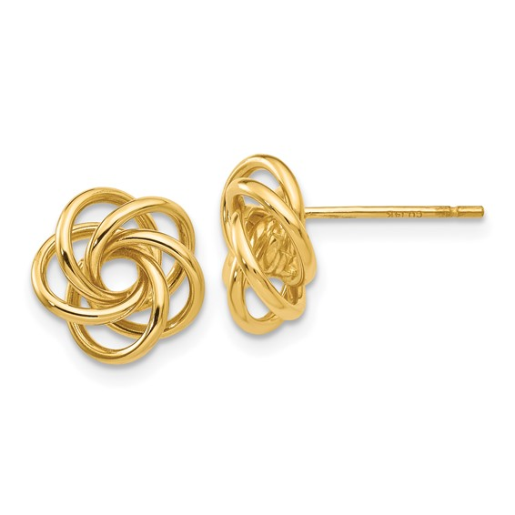 14kt Yellow Gold 3/8in Fancy Love Knot Earrings