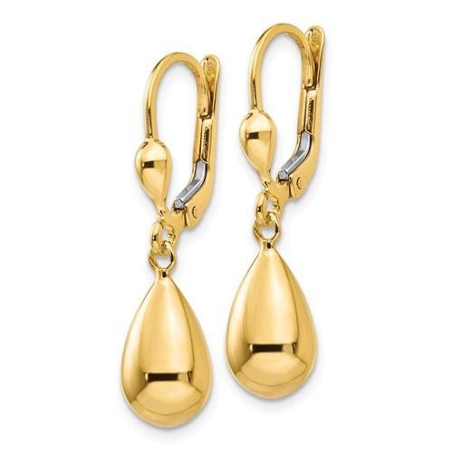 14kt Yellow Gold Hollow Teardrop Dangle Leverback  Earrings