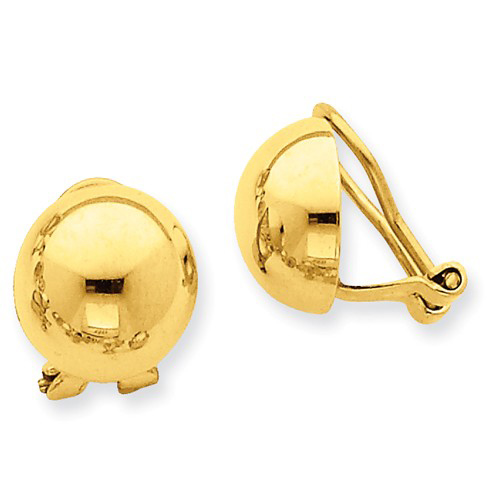 14kt Yellow Gold 1/2in Half Ball Non-Pierced Omega Earrings