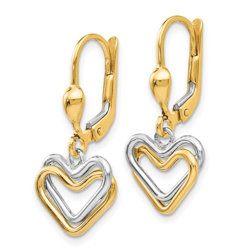 14kt Two-tone Gold Heart Leverback Earrings