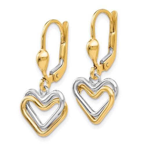 14kt Two-tone Gold Heart Leverback Earrings