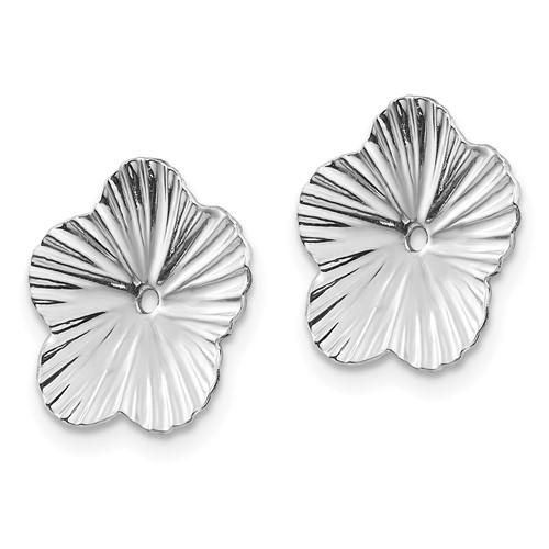 14kt White Gold Textured Flower Earring Jackets