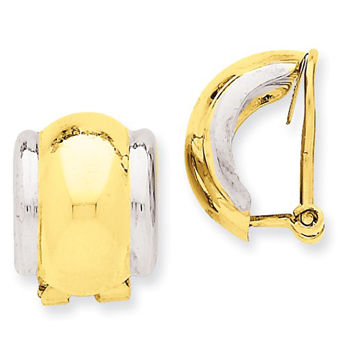 14kt Two-tone Gold 5/8in Non-Pierced Omega Earrings