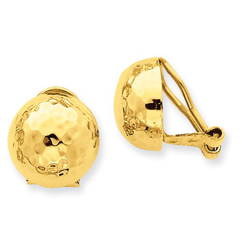 14kt Yellow Gold 1/2in Hammered Half Ball Non-Pierced Omega Earrings