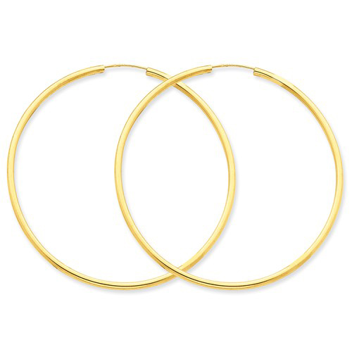 14kt Yellow Gold 2 1/4in Round Hollow Tube Endless Hoop Earrings
