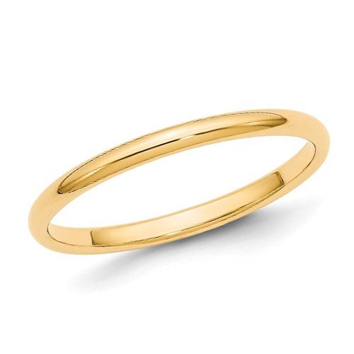 10kt Yellow Gold 2mm Half-Round Wedding Band