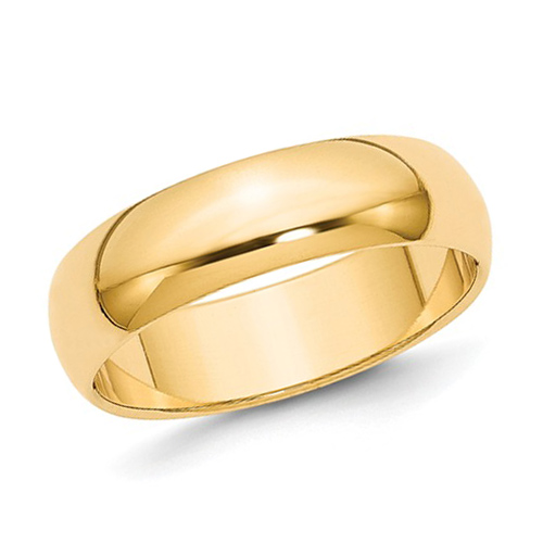 14kt Yellow Gold 6mm Polished Wedding Band