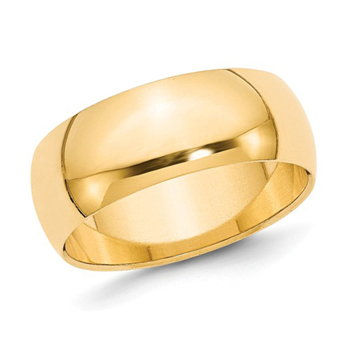 14kt Yellow Gold 8mm Polished Light Wedding Band