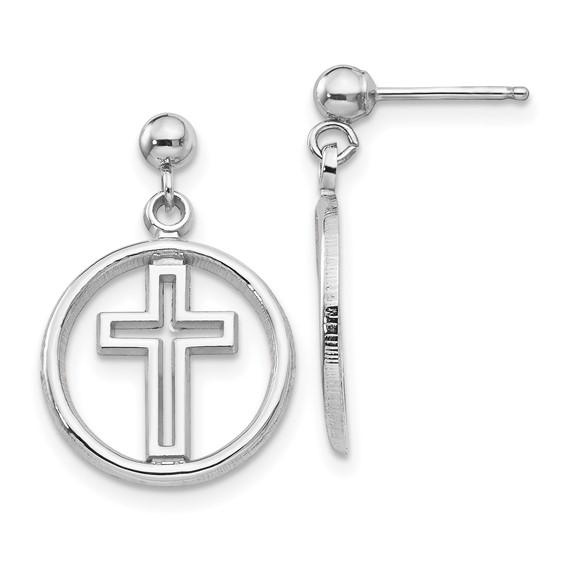 14k White Gold 3/4in Dangle Cross Earrings