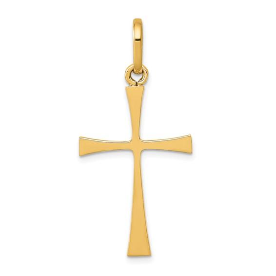 14kt Yellow Gold 1 1/8in Slender Crusader Cross