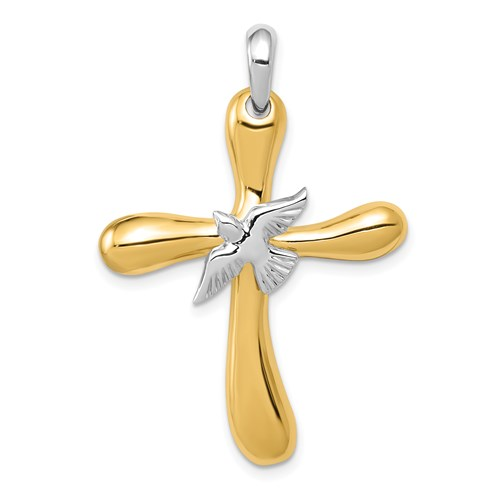 14kt Two-tone Gold 1 1/4in Dove Cross