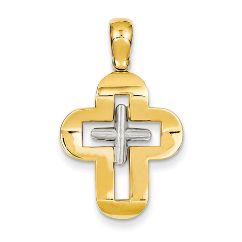 14kt Two-tone 3/4in Solid Cross Pendant