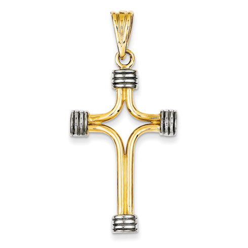 14k Two-tone Gold Cross Pendant with Grooved End Caps 1 1/4in