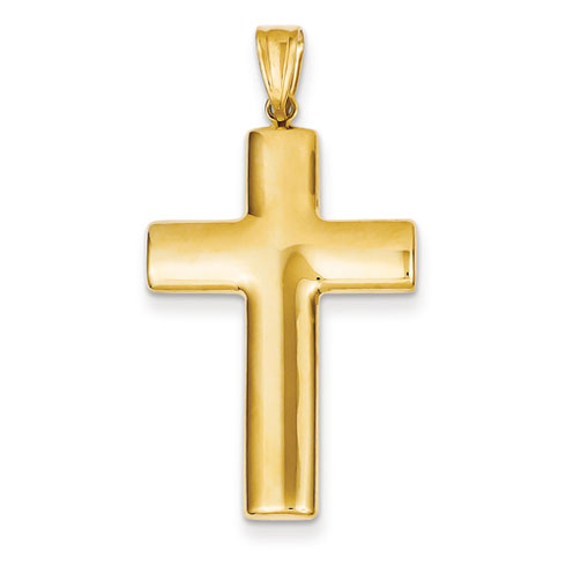14k Yellow Gold 1 1/4in Hollow Cross Pendant