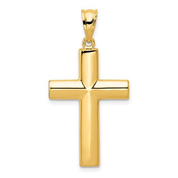 14kt Yellow Gold 1in Hollow Cross