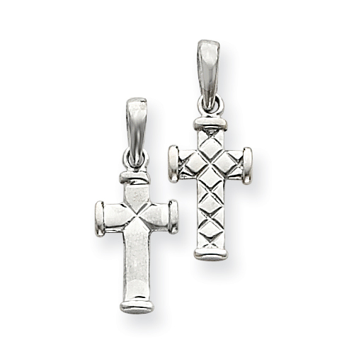 14k White Gold Reversible Quilted Cross Pendant 5/8in