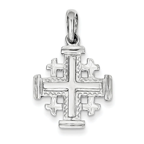 14kt White Gold 3/4in Jerusalem Cross Pendant