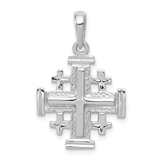 14kt White Gold 3/4in Jerusalem Cross Pendant