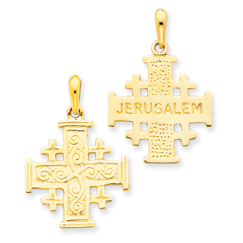 14kt Yellow Gold 7/8in Jerusalem Cross