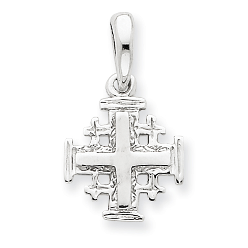 14kt White Gold 1/2in Jerusalem Cross Charm