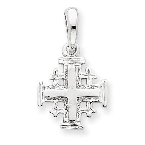 14kt White Gold 1/2in Jerusalem Cross Charm