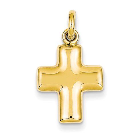 14kt 5/8in Puffed Cross Charm