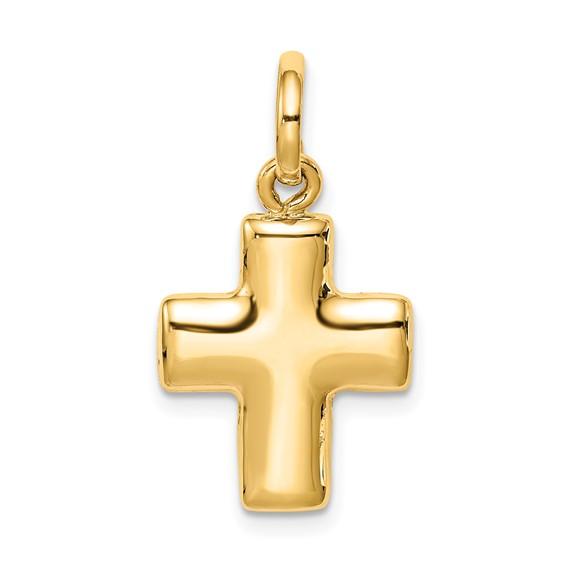 14k Yellow Gold 5/8in Puffed Cross Charm