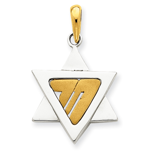 14k Two-tone Gold 7/8in Star of David Pendant