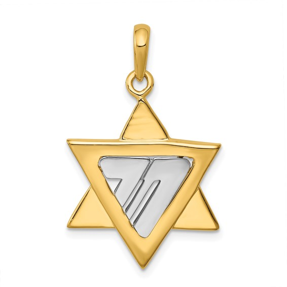 14kt Two-tone Gold 7/8in Star of David Pendant