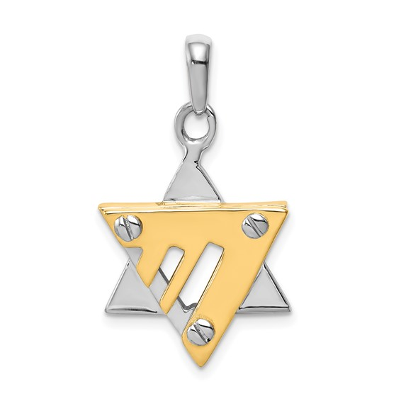 14k Two-tone 13/16in Star of David Pendant