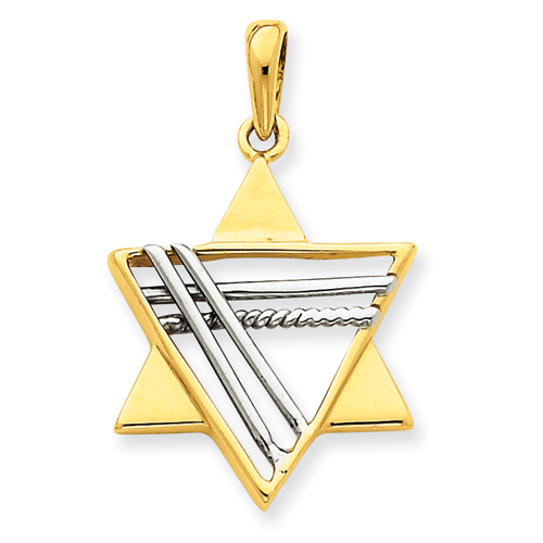 14k Two-tone 15/16in Star of David Pendant