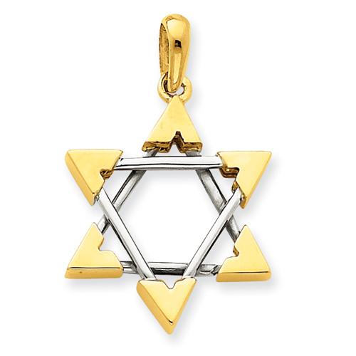 14k Two-tone Gold Star of David Pendant 7/8in