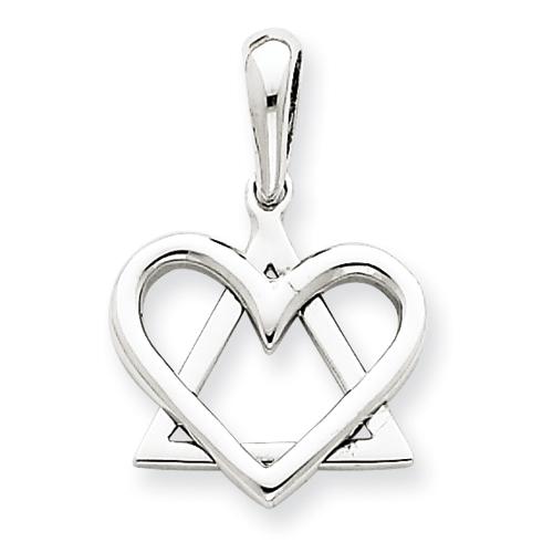 14k White Gold 9/16in Star of David Heart Pendant