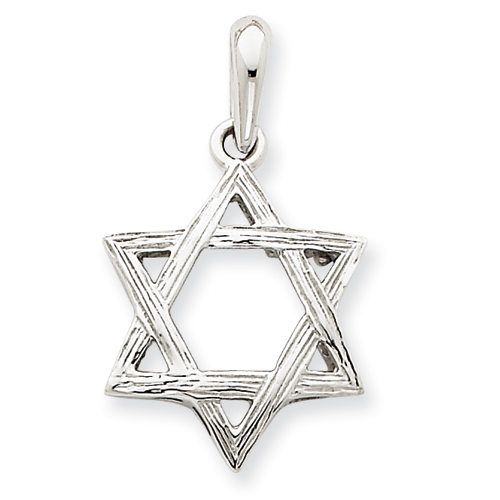 14k White Gold 3/4in Star Of David Pendant