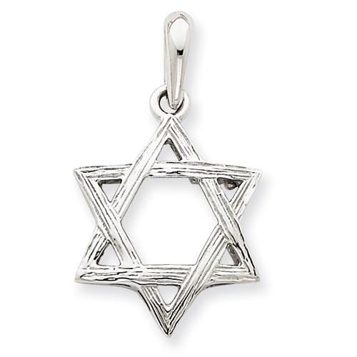 14k White Gold 3/4in Star Of David Pendant