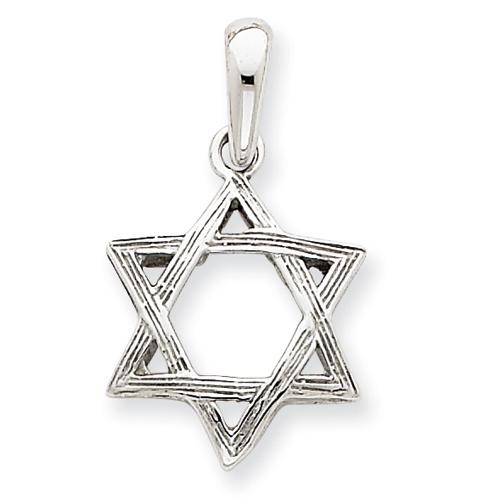 14k White Gold 5/8in Star Of David Pendant