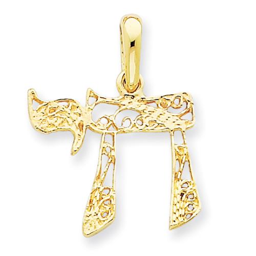 14kt Yellow Gold 5/8in Filigree Chai Pendant