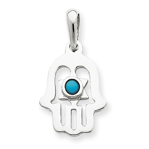 5/8in Turquoise Chamseh Charm - 14k White Gold