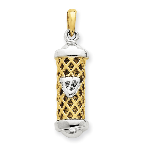 14k Two-tone Gold 1in Mezuzah Pendant