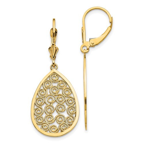 14kt Yellow Gold 1 5/8in Filigree Dangle Leverback Earrings