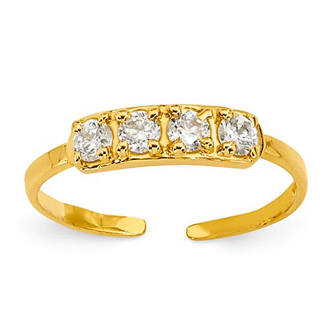 14kt Yellow Gold Four Stone Cubic Zirconia Toe Ring